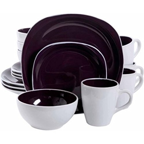 Durable Purple Carved Squares Stoneware Dinnerware Set, 16Pcs by Gibson Dinnerware Collection
