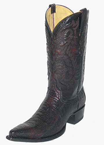 (Ostrich Leg Cowboy Boots Black Cherry (11 EE) )