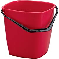 Durable 1809413 Bucket Seau de Forme Carrée avec Anse - Contenance 9,5 litres Plastique Rouge