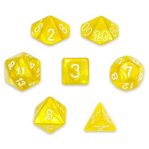 Wiz Dice 7 Die Polyhedral Dice Set - King's Ransom (Gold Pearl) with Velvet Pouch