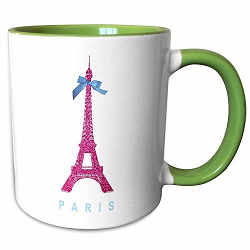 3dRose InspirationzStore French theme - Hot Pink Eiffel Tower from Paris with girly blue ribbon bow - White stylish Parisian France souvenir - 15oz Two-Tone Green Mug (mug_112907_12)