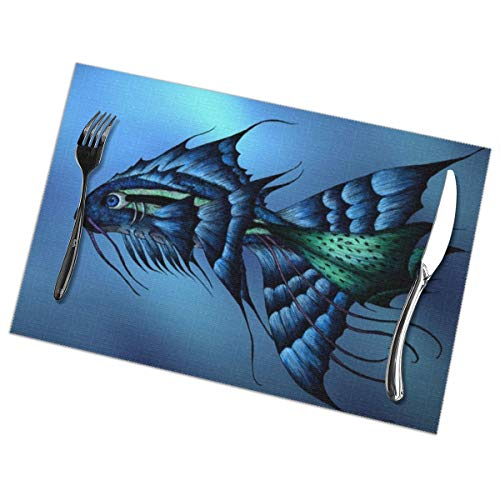 Placemats for Dining Table Set of 6 Fantasy Fish Wear-Resistant Heat-Resistant Kitchen Table Mats 18