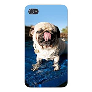 Apple Iphone Custom Case 4 5c Snap on - Cute Pug Puppy Dog Licking Nose Standing in Water