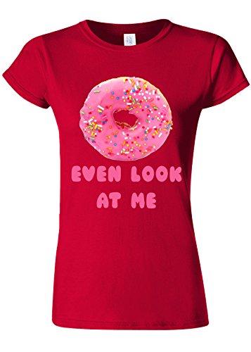 Doughnut Do Not Even Look At Me Novelty Cherry Red Women T Shirt Top-M