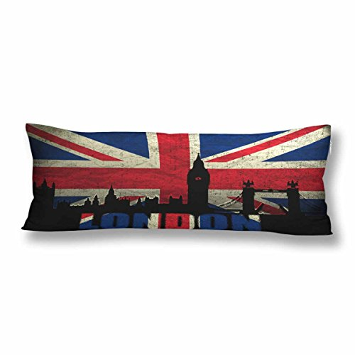 (InterestPrint Retro Union Jack Body Pillow Covers Pillowcase with Zipper 21x60 Twin Sides, London British Flag Big Ben Rectangle Body Pillow Case Protector for Home Couch Sofa Bedding)