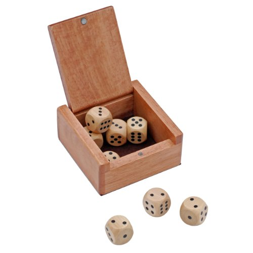 WE Games Wooden Dice Box and 8 Wooden Dice by WE Games