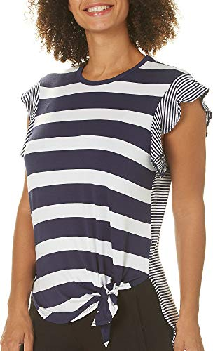 - C&C California Womens Striped Tie Front High-Low Top Medium Navy Blue/White