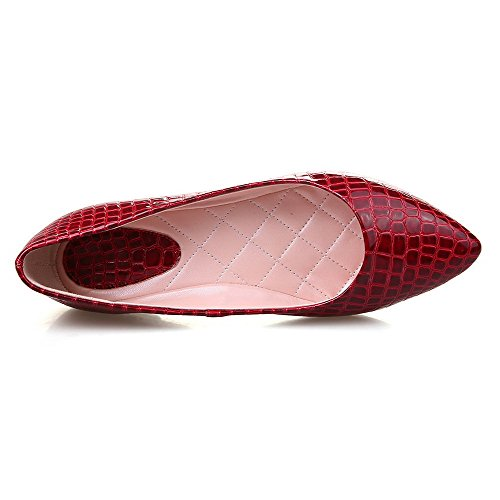AmoonyFashion Womens PU Checkered Pull-on Pointed Closed Toe No-Heel Flats-Shoes Red 3raPVfv
