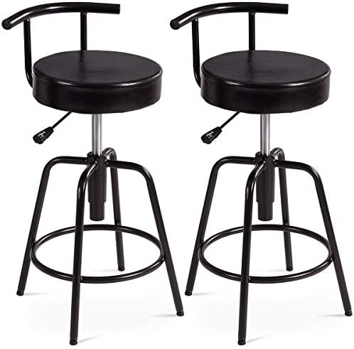 COSTWAY Bar Stool, Adjustable Swivel PU Leather Covered Cushion, Powder Coated Iron Frames, with Ring Footrest, Universal Shackles, for Home, Cafe and Bar, Black 2 Stools, Ring Footrest