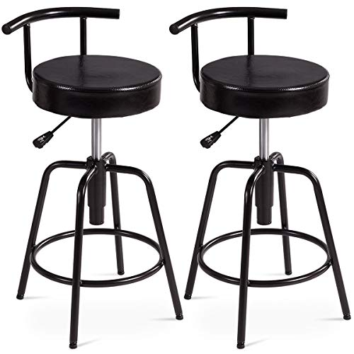 COSTWAY Bar Stool, Adjustable Swivel PU Leather Covered Cushion, Powder Coated Iron Frames, with Ring Footrest, Universal Shackles, for Home, Cafe and Bar, Black (2 Stools, Ring ()