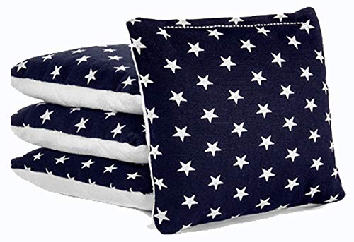 (Tailgating Pros All Weather Pro Style Cornhole Bags - 4 Regulation Size Stick & Slick Bags - 25+ Colors Options - 4 Suede Options (Stars, White Suede))