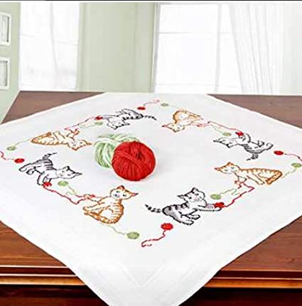 Kittens 6919 Printed Stamped Cross Stitch Tablecloth Kit for Embroidery