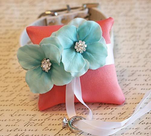 Coral Aqua ring pillow, dog ring bearer, dog of honor, dog collar, handmade, Wedding accessory, White, blue, Ivory, Brown, black dog ()