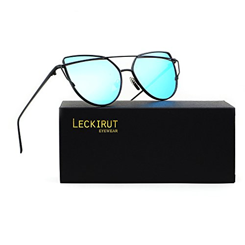 Leckirut Women Cat Eye Sunglasses Mirrored Flat Lenses Street Fashion Metal Frame UV400 black frame/blue - Contact Sunglass Lenses