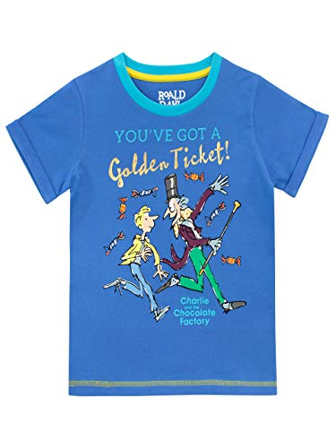 Roald Dahl Boys' Charlie and The Chocolate Factory T-Shirt Size 7 Blue (Charlie And The Chocolate Factory Chapter Questions)