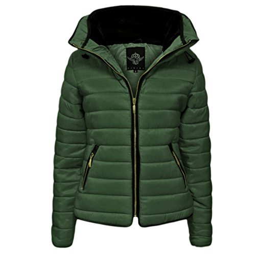 Hip High High Quality Quilted Plain Jacket Inside amp;F Zipped Girls 8 Up Zip Winter Full Length H Fur Women Faux Puffer Size Padded Zara Ladies khaki Long L Sleeve Collar 14 12 Coat Bubble Inspired 10 IUxwq