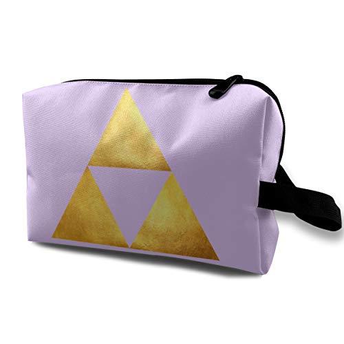 Zelda Triforce Golden Travel Makeup Bag Case Organizer Bag Zipper