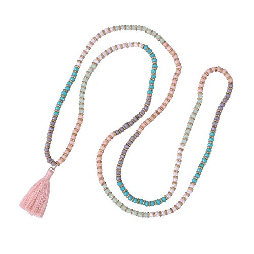 KELITCH Crysta AB Beaded Long Necklace Pink Tassel Pendant Women Strand Bracelet For Summer (Color)