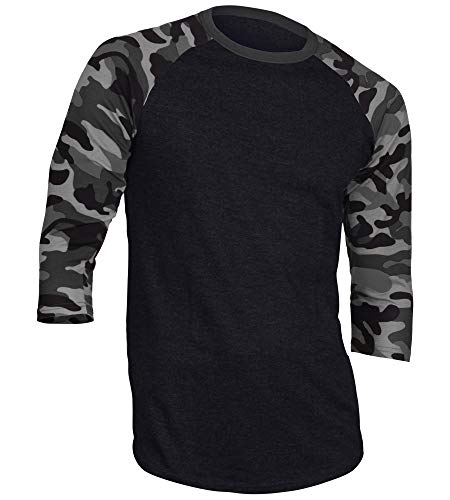 (DREAM USA Men's Casual 3/4 Sleeve Baseball Tshirt Raglan Jersey Shirt Black/Dk Gray Camo Large )