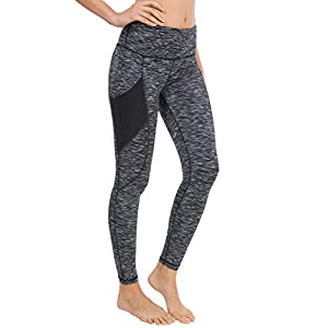 Queenie Ke Women Yoga Leggings Power Flex Mesh High Waist 3 Phone Pocket Gym Running Tights Size M Color Black Space Dye Side Pockets
