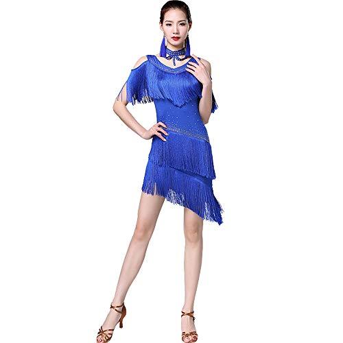 Vestito Cinturino Prestazione Nappa Con Vestito Danza Blue Da Latina Abito Danza Rumba Per Donna Alla Abito Samba XL GONGXI Di Da qFxapaO