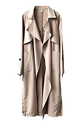 Casual Manche Beige Manteau Printemps Uni Automne Bouffant Unie Chic Trench Elégante Manches Femme Vent Mode Couleur Outwear Coupe Revers Longues clFK1JT