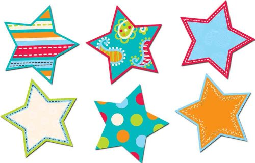 Creative Teaching Press 6-Inch Designer Cut-Outs, Dots on Turquoise Stars (6482)