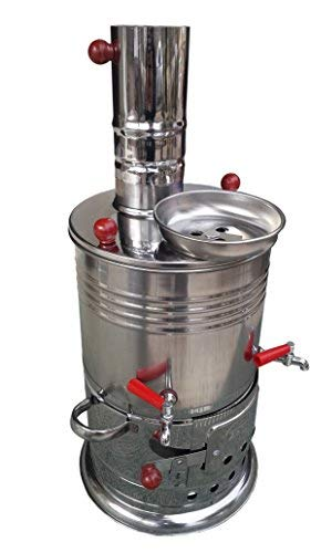 Double Tap CHROME CHARCOAL CAMPING WATER HEATER, Stove,Cooker Doomsday tool (Wood Kettle Burning)