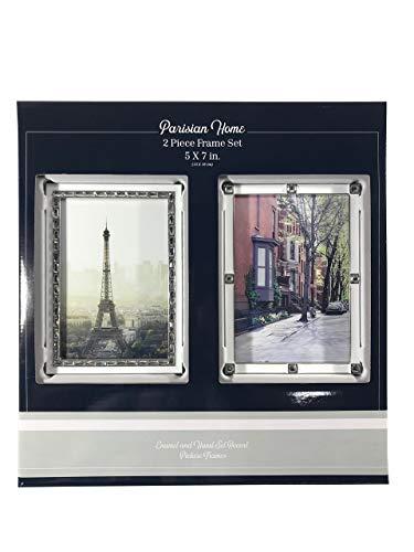 """Parisian Home 2 Piece Picture Frame Set 5x7"""" Enamel & Hand Set Accent"""