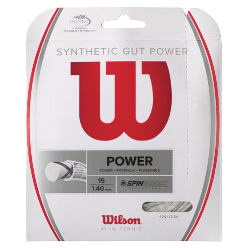 Wilson Synthetic Gut Power 40-Feet Tennis String Set, White, 17 ()