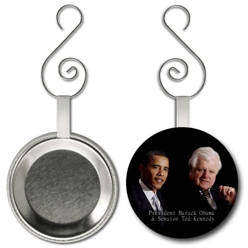 Remember Senator Ted Kennedy with Obama 2.25 inch Button Style Hanging ()
