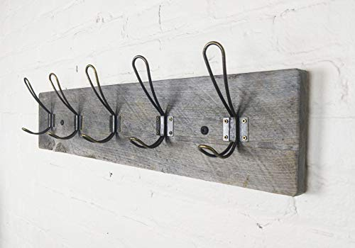 Vintage Rustic Coat Rack -Authentic Barn Wood Hanger Rack for Towels, Clothes, Hats, Bags-Antique Door & Wall Mounted 5-Hook Rail for The Entryway, Bathroom, Bedroom, Kitchen, Mudroom