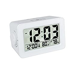 EWTTO Stylish Multifunction Easiest Set Alarm Clock Large LCD Display Ambience Temperature Humidity with USB Power Station for iPhone/Android Phone Adjustable Backlit Screen Make it Visible(White)