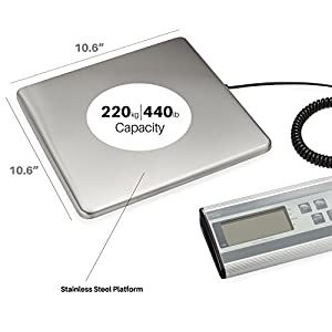 Smart Weigh Digital Heavy Duty Shipping and Postal Scale with Durable Stainless Steel Large Platform, 440 lbs Capacity x 6 oz Readability, UPS USPS Post Office Postal Scale and Luggage Scale
