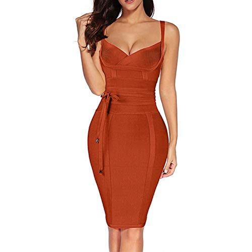 (2019 Rayon Sleeveless Summer Sexy Deep v Neck Dress,Crimson,M,United States)