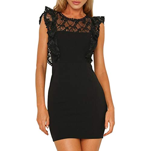 Botrong Sexy Womens Fashion Lace Sleveless O Neck Casual Solid Summer Dress Black