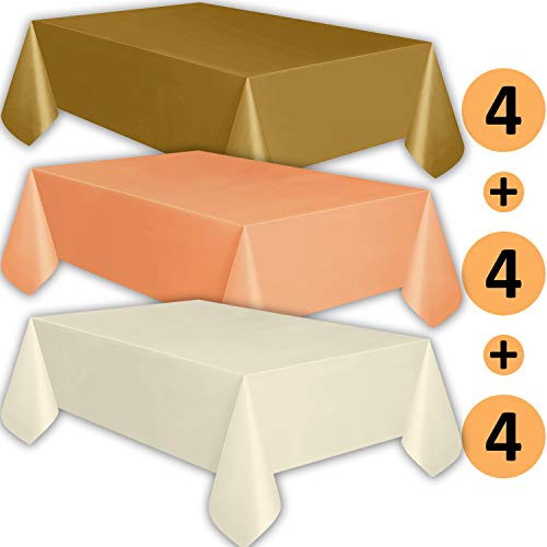 12 Plastic Tablecloths - Gold, Peach, Ivory - Premium Thickness Disposable Table Cover, 108 x 54 Inch, 4 Each Color