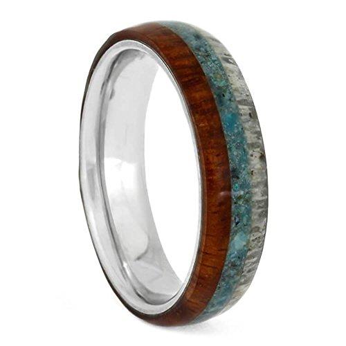 The Men's Jewelry Store (Unisex Jewelry) Gibeon Meteorite, Blue Mokume Gane 7mm Titanium Comfort-Fit Wedding Band, Size 4