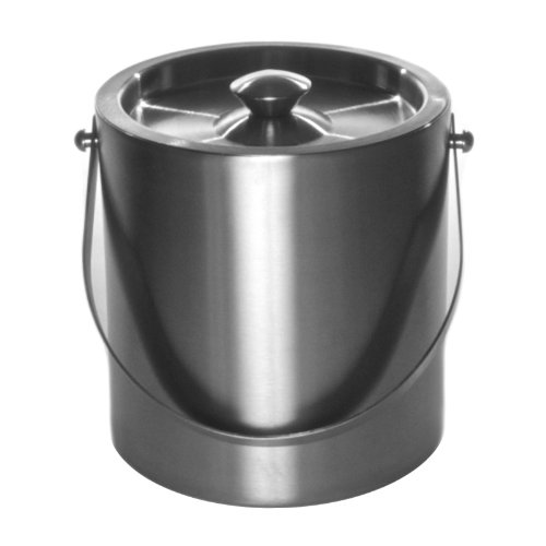 Mr. Ice Bucket 260-1 Brushed Stainless-Steel Ice Bucket, 3 Quart Metal 3 Qt Ice Bucket