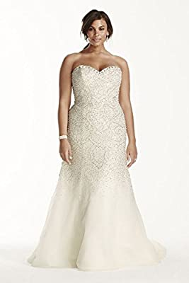 Strapless Crystal Beaded Tulle Fit and Flare Wedding Dress Style 9SWG688
