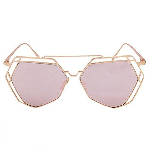 Conducción de de Moda Marco Sol Pink Gafas LVZAIXI de Viaje Ahueca Fuera de Sunglasses Polígono Verano Aviador Color de Negro Retro hacia Metal qZxHv07