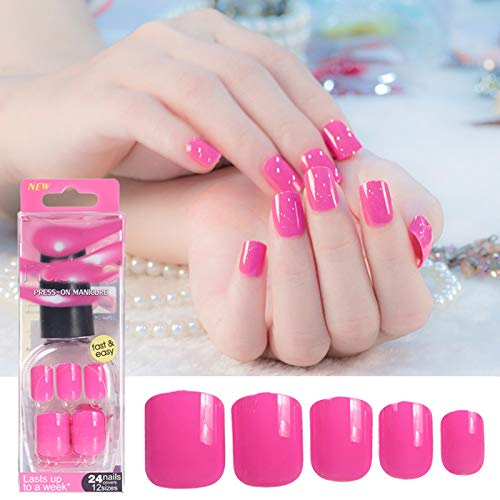 Pure Color False Red Pink Tips Short Length Artificial Nails Extension Design Press On Manicure Gel Polish 48 Colors 016