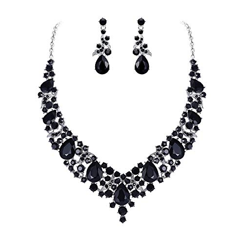 Silver Necklace Earrings Set Costume - 1