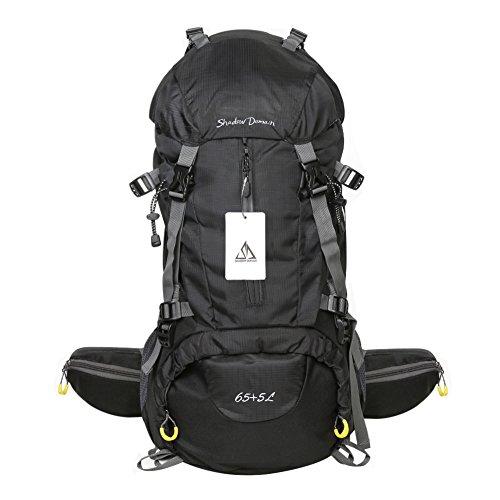 Waterproof Hiking Backpack, 45L + 5L 50L 65L + 5L Nylon Large Capacity to meet Sport Camping Travel Trekking Rucksacks Pack Mountaineering Climbing Knapsack (65L+5L 01 Black, 65L + 5L)