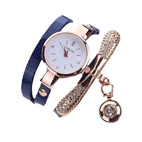Redvive Women Leather Quartz Wrist Watches Rhinestone Multilayer Watch Jewelry Crystal Bracelet Sport. (Dark Blue) from Redvive