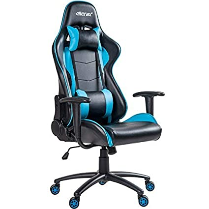 625805a9830 Amazon.com  Merax High Back Gaming Chair Computer Desk Chair Adjustable  Swivel Chair Office Racing Chair with Lumbar Support and Headrest (Blue)   Home   ...