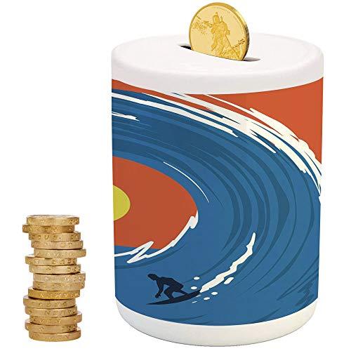 Ride The Wave,Ceramic Girls Bank,for Party Decor Girls Kid's Children Adults Birthday Gifts,Man Surfing in Giant Ocean Waves Retro Artistic Sports Poster Print ()