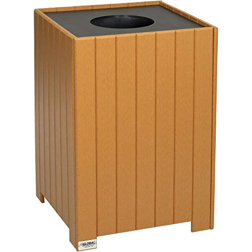 (Square Recycled Plastic Receptacle W/Liner, 32 Gallon, Cedar, Lot of 1)