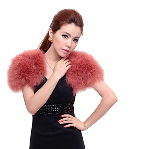 Real Ostrich Feather Cape With Silk ribbon Scarf Party protect your shoulders (brown) ()