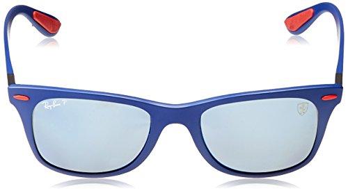 Ray-Ban Mens 0rb4195mf604h052plastic Man Polarized Iridium Square Sunglasses, Matte Blue, 52 mm